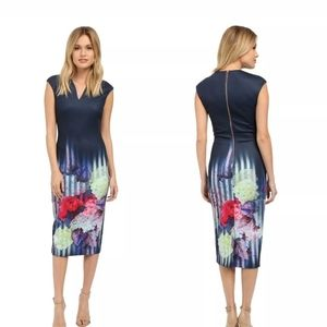 Ted Baker Navy Floral Midi Dress Size TB 5